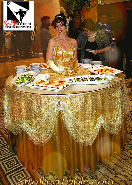 flapper gatsby strolling table