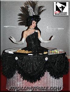 strolling table showgirl